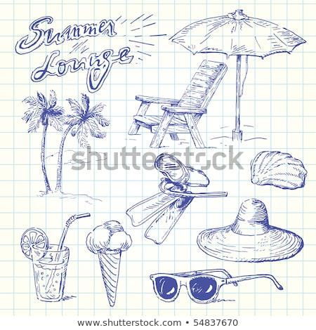 Maszk búvárpipa rajz ikon vektor izolált Stock fotó © RAStudio