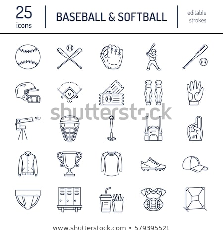 Baseball, softball sport game vector line icons. Ball, bat, field, helmet, pitching machine, catcher stock photo © Nadiinko
