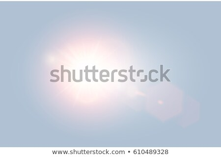 Vector transparent bright day sunlight lens flare with hexagon elements on light blue background Stock photo © Iaroslava