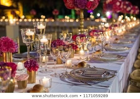 zarif · tablo · düğün · akşam · yemeği · olay · el · yapımı - stok fotoğraf © gsermek