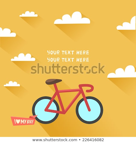 Retro bicicleta amarelo projeto amor vetor Foto stock © NikoDzhi