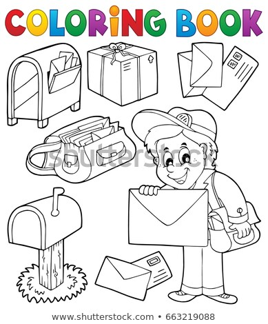 Coloring book with postman thematics Stock photo © clairev