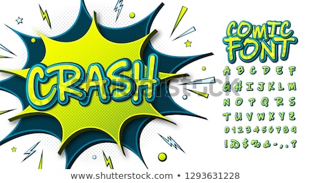 Comic retro yellow alphabet. Halftone background and decorative  Stock photo © pashabo