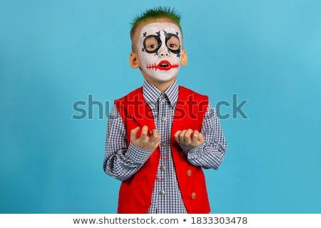 Hideg fiú visel halloween szörny jelmez Stock fotó © zooco