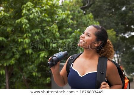 Afrikaanse backpacker rugzak verrekijker jonge Stockfoto © RAStudio