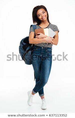 Foto stock: Sorridente · africano · adolescente · menina · mochila
