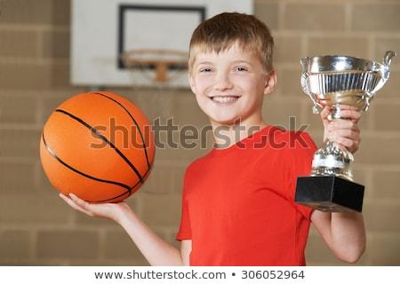 portret · glimlachend · jongen · permanente · gang · school - stockfoto © is2