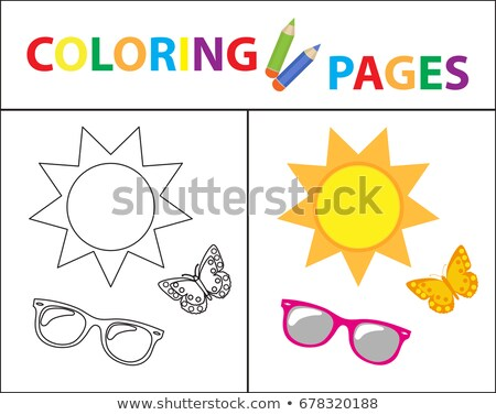 coloring book page summer set glasses sun butterfly sketch outline and color version coloring stock photo © lucia_fox