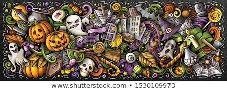 happy halloween postcards color chalked designs stock photo © sonya_illustrations