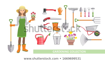 women holding spade and rake in garden stock photo © is2