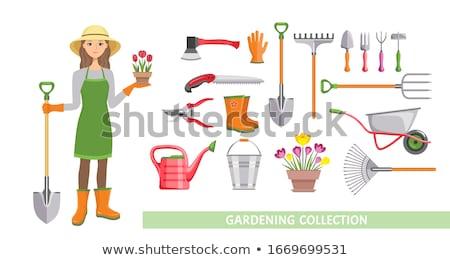 Nők tart ásó gereblye kert nő Stock fotó © IS2