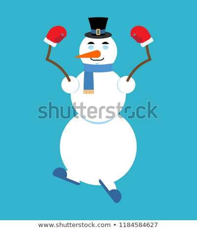 Snowman yoga. Relaxation and meditation.  New Year and Christmas Stock photo © popaukropa
