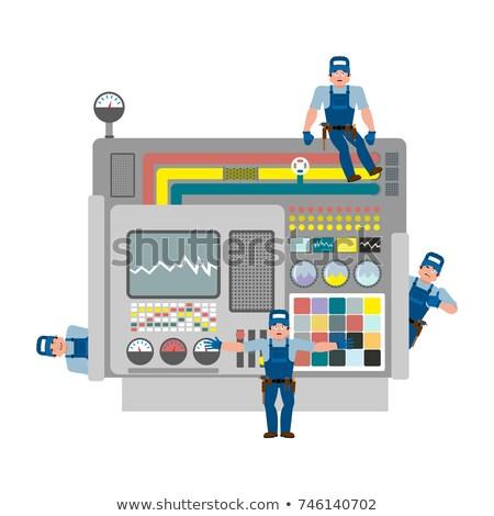 Industrielle machines réparation équipe Ouvrir la construction Photo stock © popaukropa