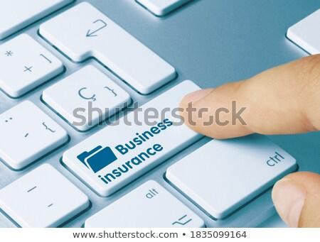 保険 · 青 · キーボード · ボタン · 指 · プッシング - ストックフォト © tashatuvango