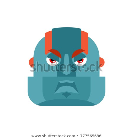 Robot angry. Cyborg evil emotions. Robotic man aggressive. Vecto Stock photo © popaukropa
