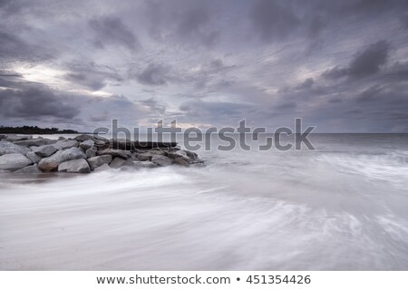 água · pedras · noite · longa · exposição · tiro · costa - foto stock © Mps197