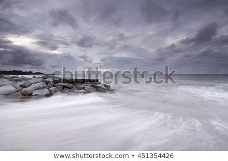 su · taşlar · akşam · uzun · pozlama · atış · kıyı - stok fotoğraf © Mps197