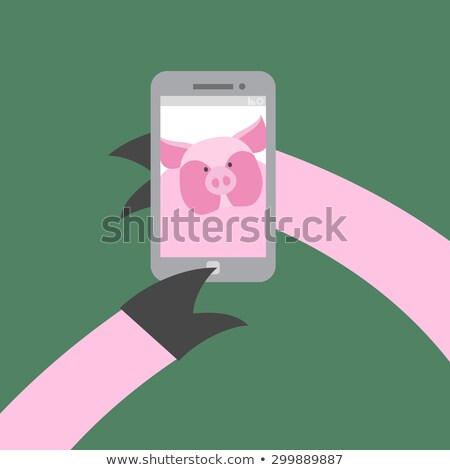 Selfie makes a pig. Farm animal photographs themselves. Vector i Stock photo © popaukropa