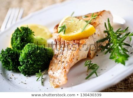 鮭 魚 ブロッコリー レストラン 食べ 野菜 ストックフォト © M-studio