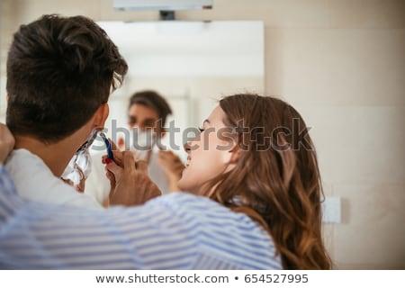 Stock fotó: Nő · segít · férfi · borotválás · jókedv · fürdőszoba