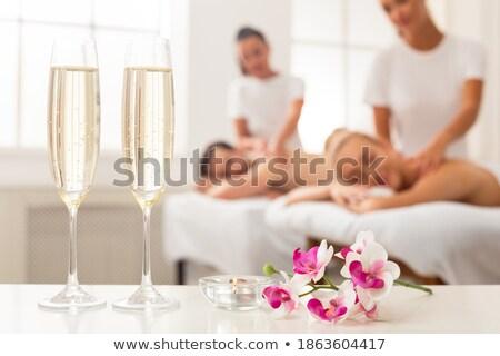 Huwelijksreis hotelkamer shot bruiloft liefde wijn Stockfoto © hsfelix