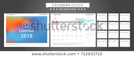 Vector Calendar 2018 Template Illustration with Place for Photo on White Background. Week Starts on  Stock photo © articular