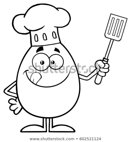 Black And White Chef Egg Cartoon Mascot Character Licking His Lips And Holding A Spatula Stock photo © hittoon