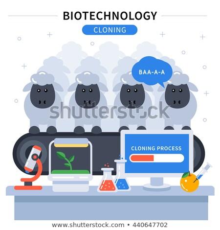 遺伝の · バイオテクノロジー · 研究 · シンボル · 文字 · ダブル - ストックフォト © popaukropa