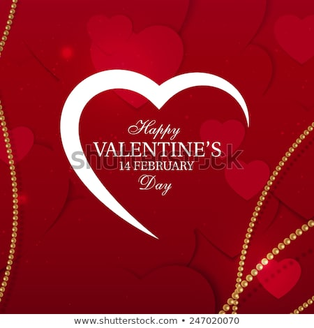 vector valentines day party flyer design with typography and heart on red background premium celebr stock photo © articular