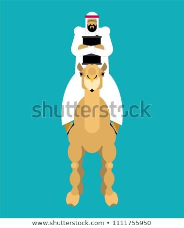 Arabisch man kameel olie vat vent Stockfoto © popaukropa