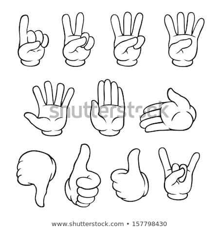 Preto e branco desenho animado mão gesto isolado Foto stock © hittoon