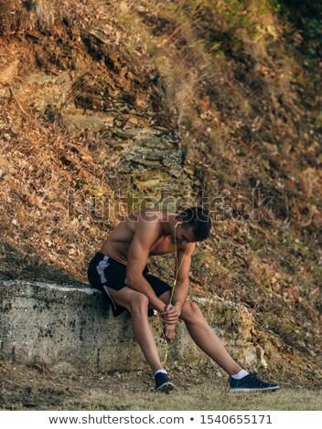 Portré fitt póló nélkül sportoló pihen jogging Stock fotó © deandrobot