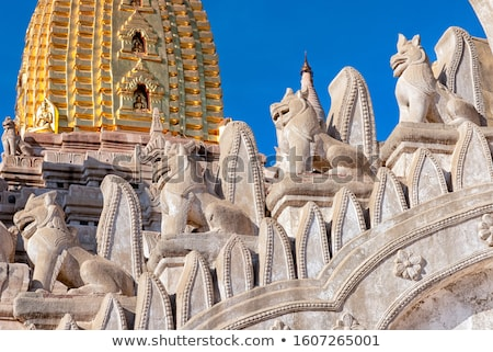 Bagan, lion statue at Ananda Temple. stock photo © romitasromala
