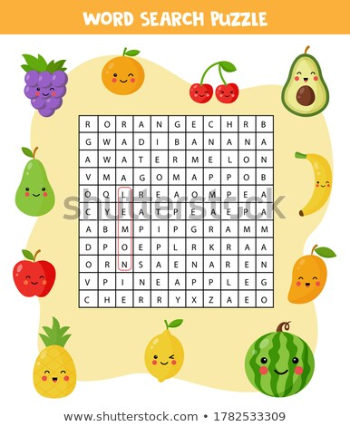 crossword for learning english find the fruits and berries words stock photo © natali_brill