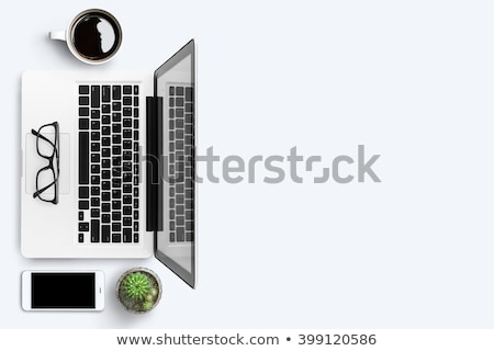 Overhead View Of Office Supplies And Gadgets Stock photo © AndreyPopov