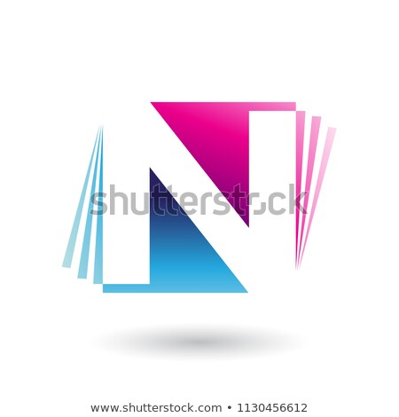 Blue and Magenta Letter N with Vertical Stripes Vector Illustrat Stock photo © cidepix