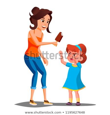 ストックフォト: 母親 · アイスクリーム · 泣い · 子 · ベクトル · 孤立した