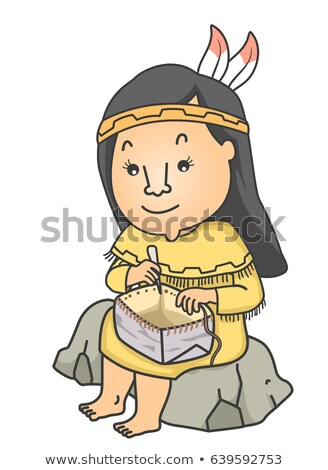 Stock fotó: Girl Native American Basket Birch Bark Illustration