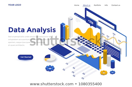flat isometric vector concept of website data analysis web analytics stock photo © tarikvision