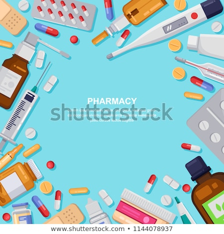 Medication Pharmacy Poster Set Vector Illustration Stock photo © robuart