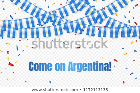 Argentina garland flag with confetti on transparent background, Hang bunting for celebration templat Stock photo © olehsvetiukha