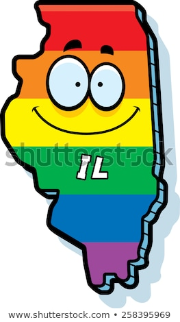 Cartoon Illinois matrimonio gay illustrazione sorridere Rainbow Foto d'archivio © cthoman
