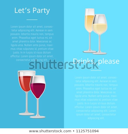 Lets Party Drink Please Poster Pair Glasses Vector Stock photo © robuart