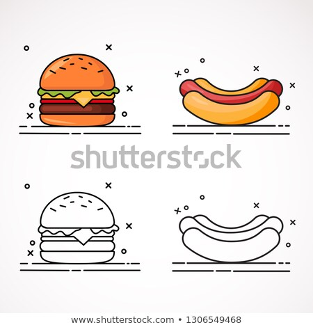 Hamburger hot dog ingesteld posters monochroom frisdrank Stockfoto © robuart
