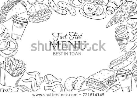 Stockfoto: Fast · food · banners · monochroom · ingesteld · kom
