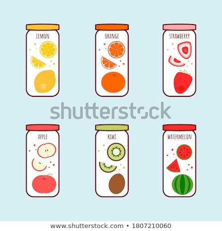 Preserved Food Orange Poster Vector Illustration Stock photo © robuart