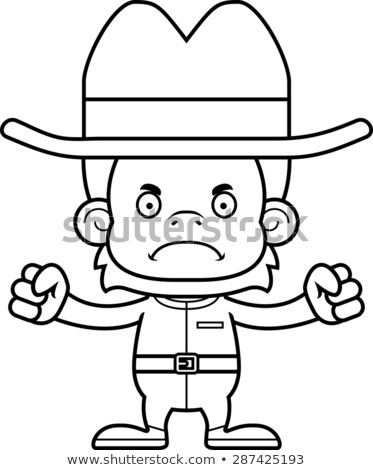Cartoon Angry Cowboy Orangutan Stock photo © cthoman