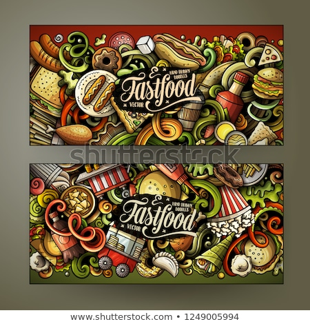 Gyorsételek kézzel rajzolt firka bannerek szett rajz Stock fotó © balabolka
