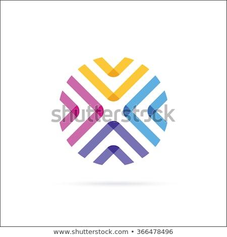 letter x logotype x logo blue orange icon vector stock photo © blaskorizov