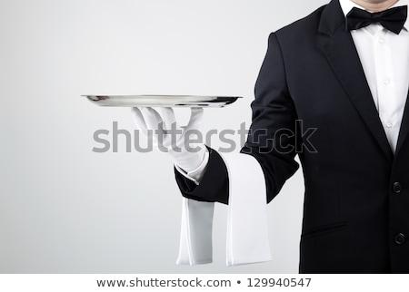 Pincér tálca első osztály szolgáltatás tart férfi Stock fotó © alphaspirit